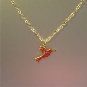 Enamel Hummingbird Charm Necklace